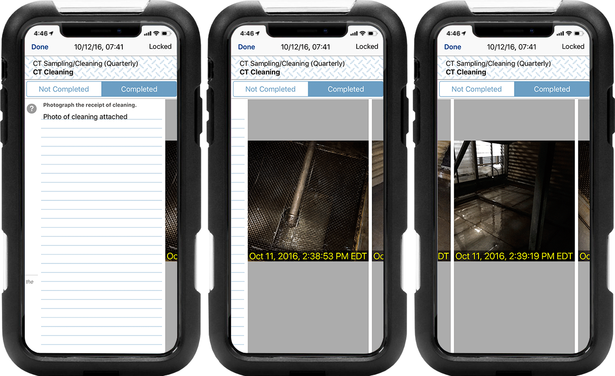 Progression of LogCheck logs on iPhones showing cooling tower cleaning