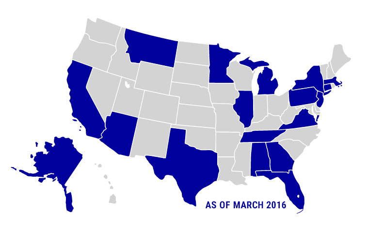 Map showing states with active LogCheck users as of March 2016