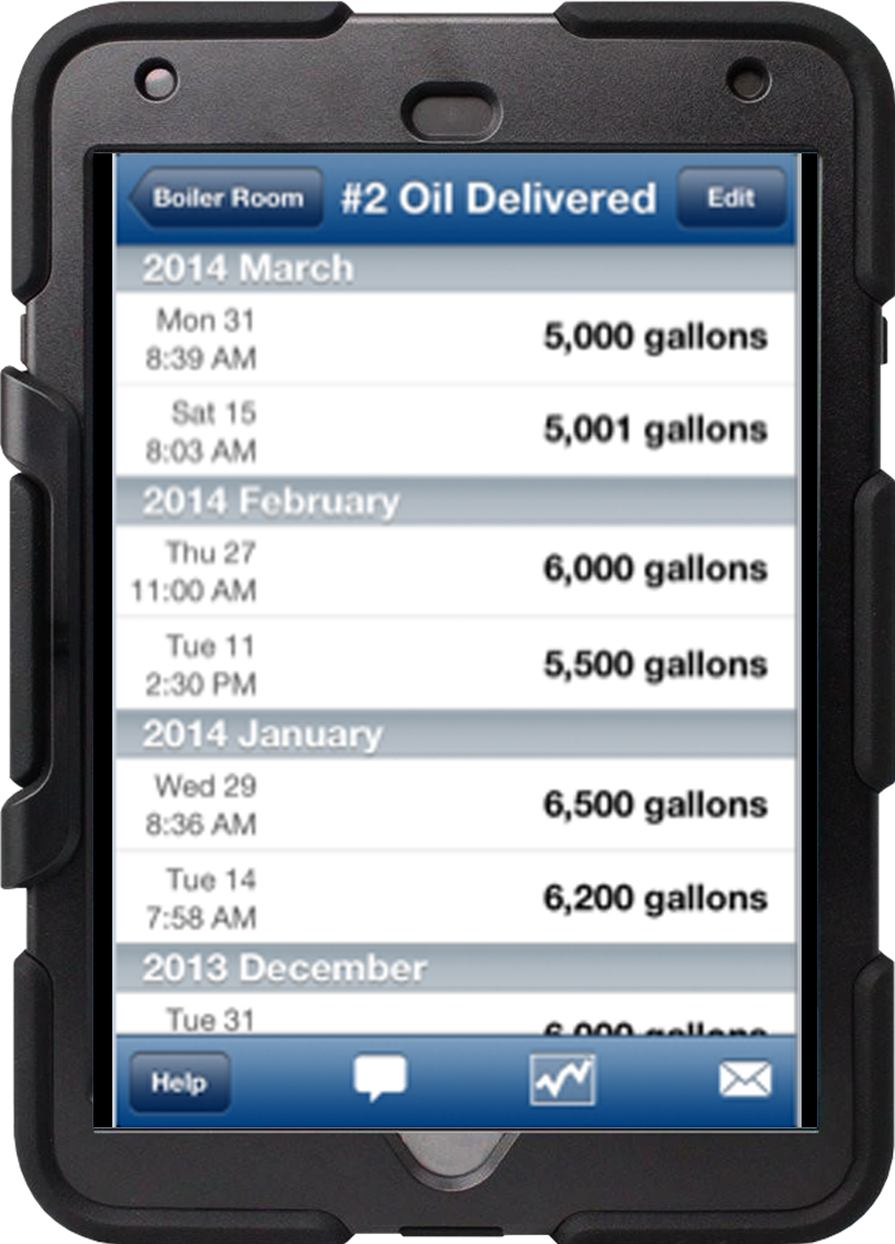 LogCheck report on iPad showing oil deliveries
